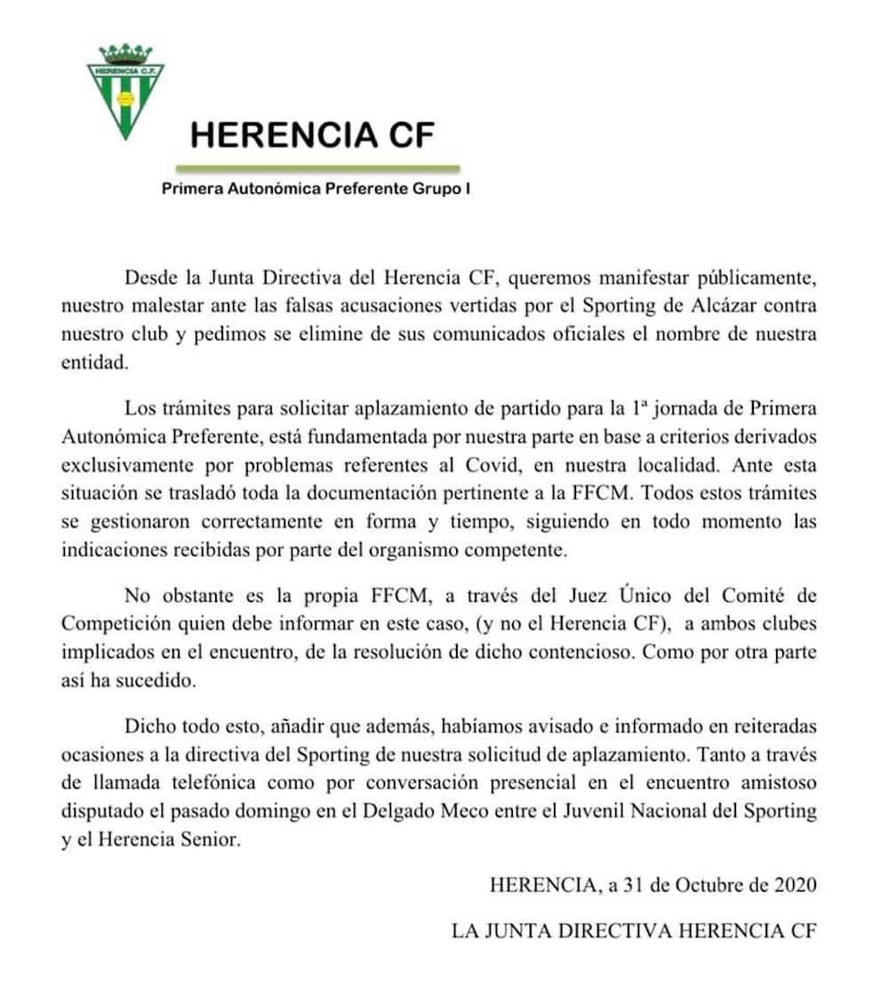 comunicado oficial herencia cf aplazamiento sporting - Comunicado Oficial Herencia C.F. ante falsas acusaciones vertidas por el Sporting de Alcázar