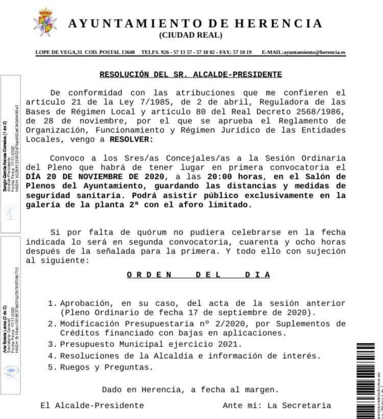 pleno municipal - El próximo pleno municipal abordará la aprobación del presupuesto del ayuntamiento de Herencia para el 2021