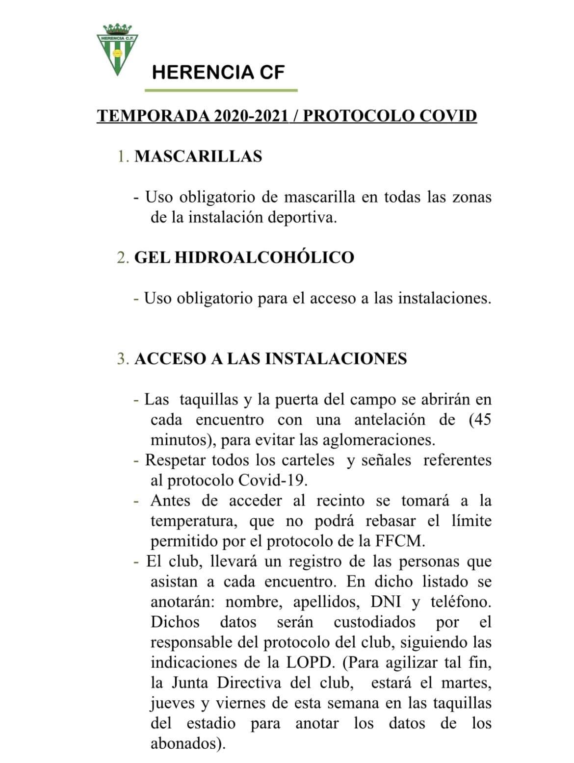 protocolo covid futbol herencia 1 - Vuelve el fútbol al Fernández de la Puebla en Herencia este fin de semana