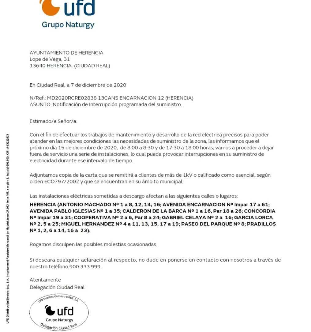 Interrupción programada de suministro eléctrico el 15 de diciembre en algunas calles 3