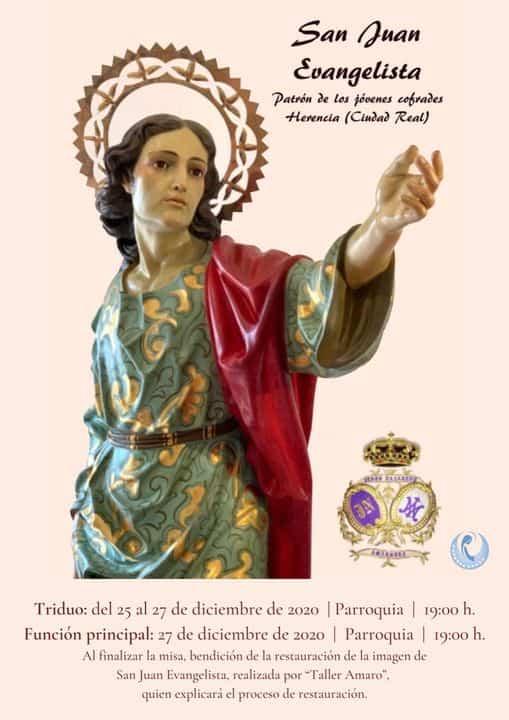 Restaurada la imagen de San Juan Evangelista y triduo en su honor 1