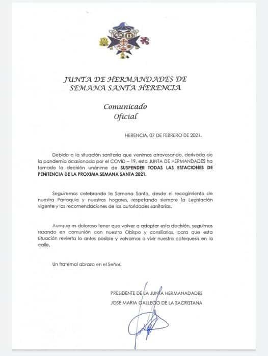 Suspendidas todas las procesiones de la Semana Santa 2021 de Herencia 3