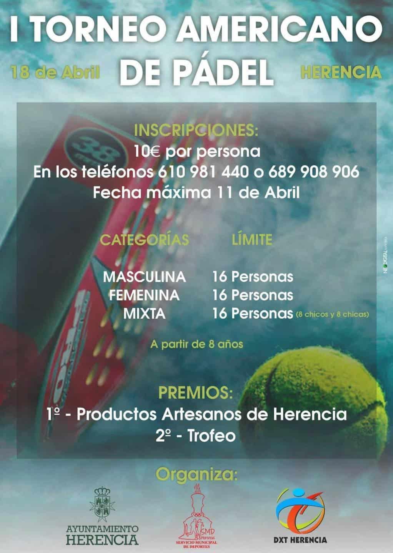I Torneo Americano de Pádel en Herencia en abril 3