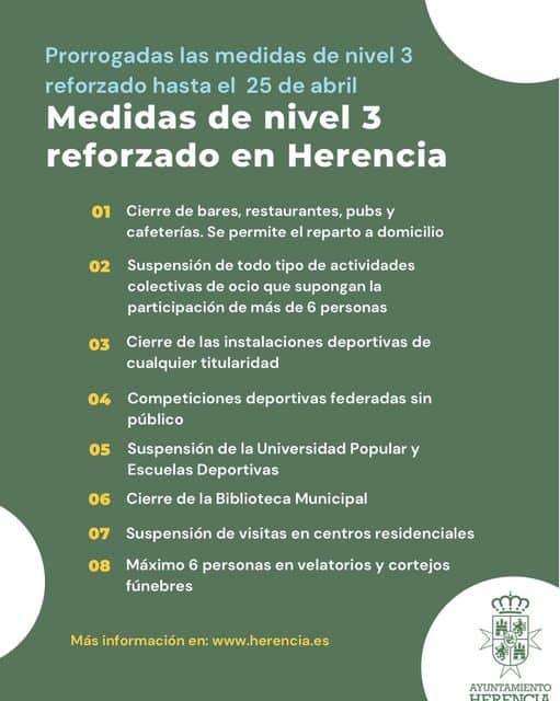 Continúan las medidas de nivel 3 reforzado frente a la COVID en Herencia 3