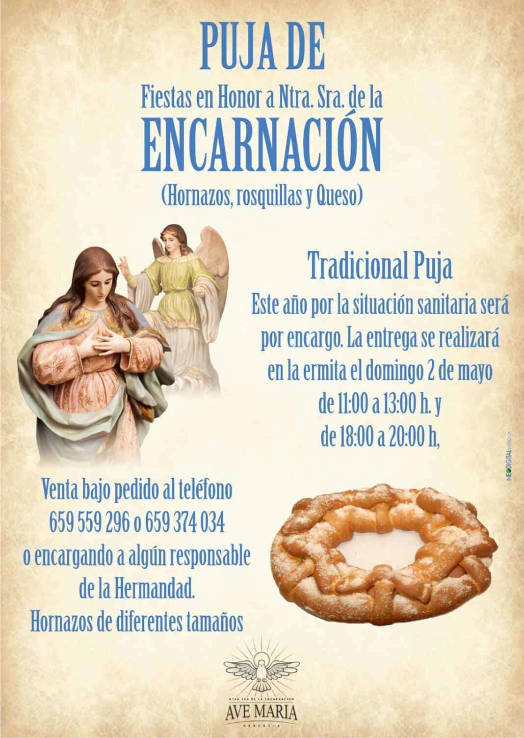 La puja de la Encarnación será este año previo encargo de los tradicionales productos gastronómicos 1