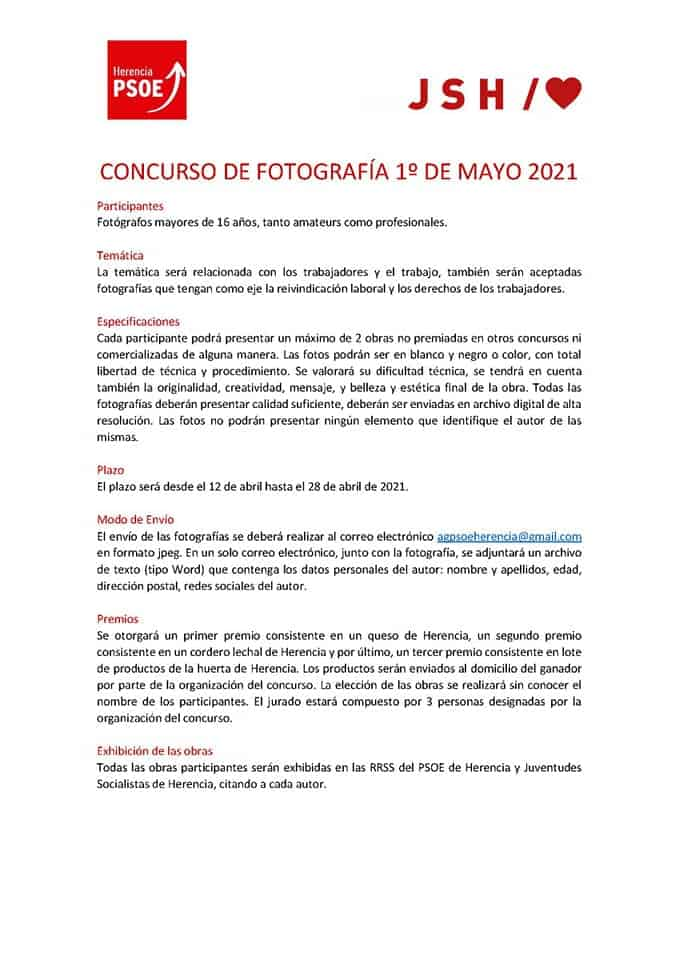 El Psoe de Herencia organiza un concurso de fotografía con motivo de 1º de mayo 3