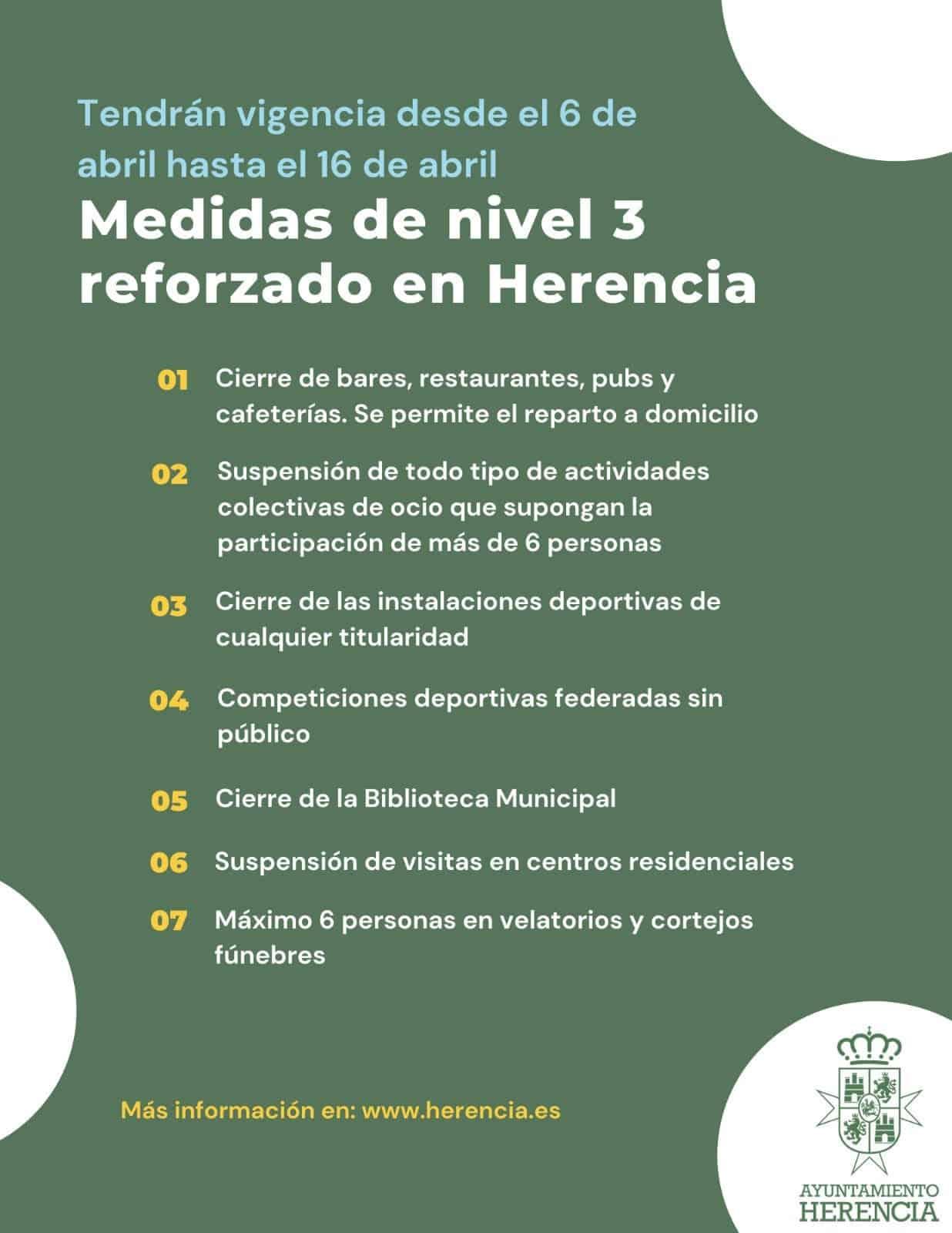 Medidas de nivel 3 reforzadas para Herencia con el cierre de la hostelería, excepto a domicilio 3