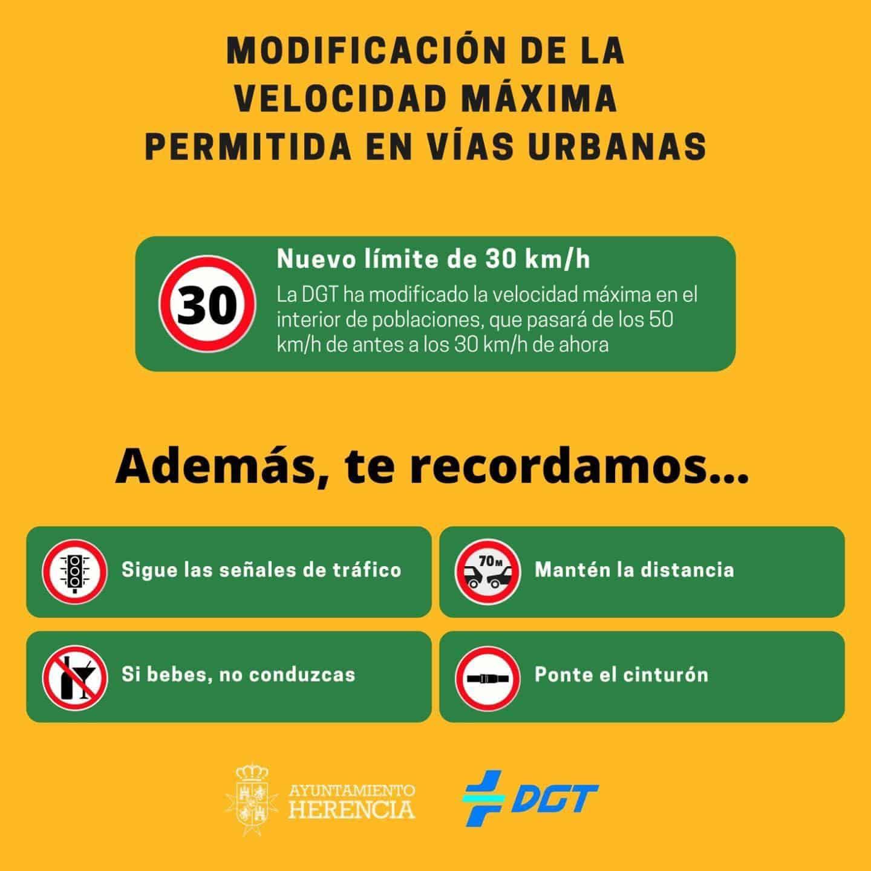 Modificación de la velocidad máxima dentro de población en Herencia 3