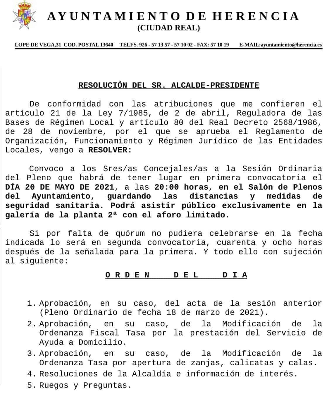 Próximo Pleno del Ayuntamiento de Herencia el 20 de mayo de 2021 3
