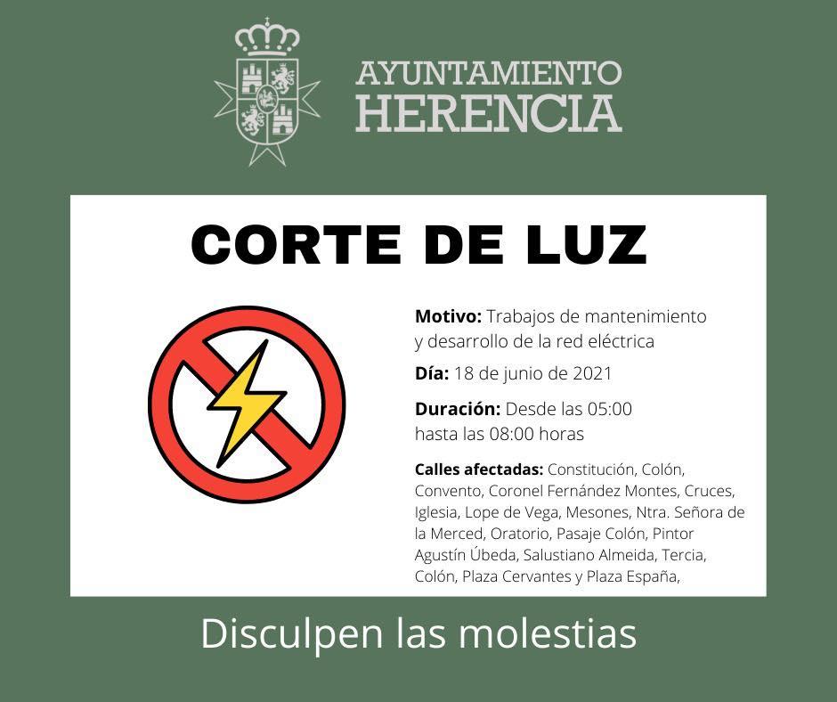 Cortes de luz en diferentes calles de Herencia por mantenimiento de la red eléctrica 6