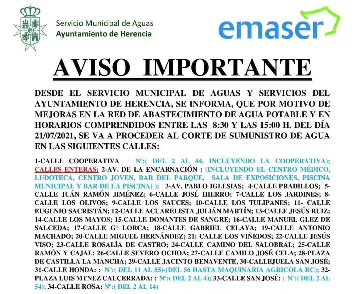 Cortes de agua en Herencia el miércoles 21 de julio durante la mañana 3
