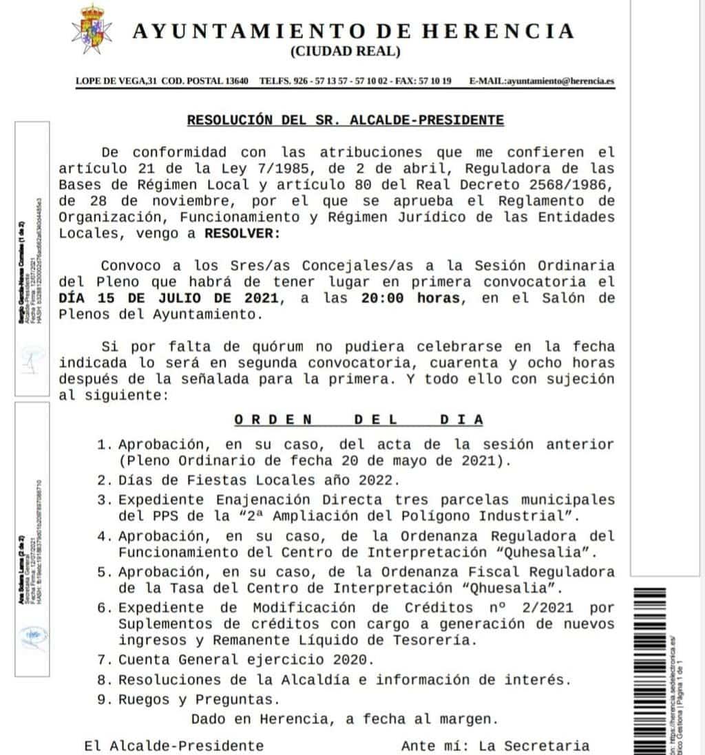 Pleno ordinario del Ayuntamiento de Herencia el 15 de julio de 2021 3