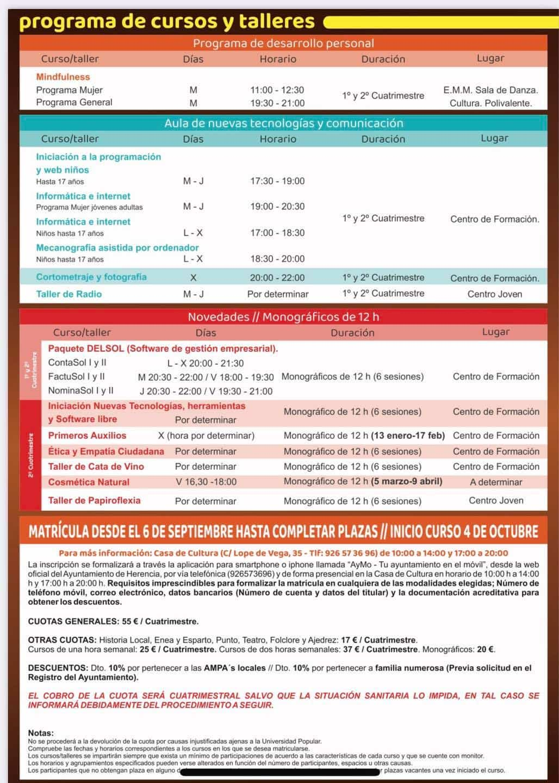 La Universidad Popular ofrece más de 40 cursos y talleres en su próxima edición 12