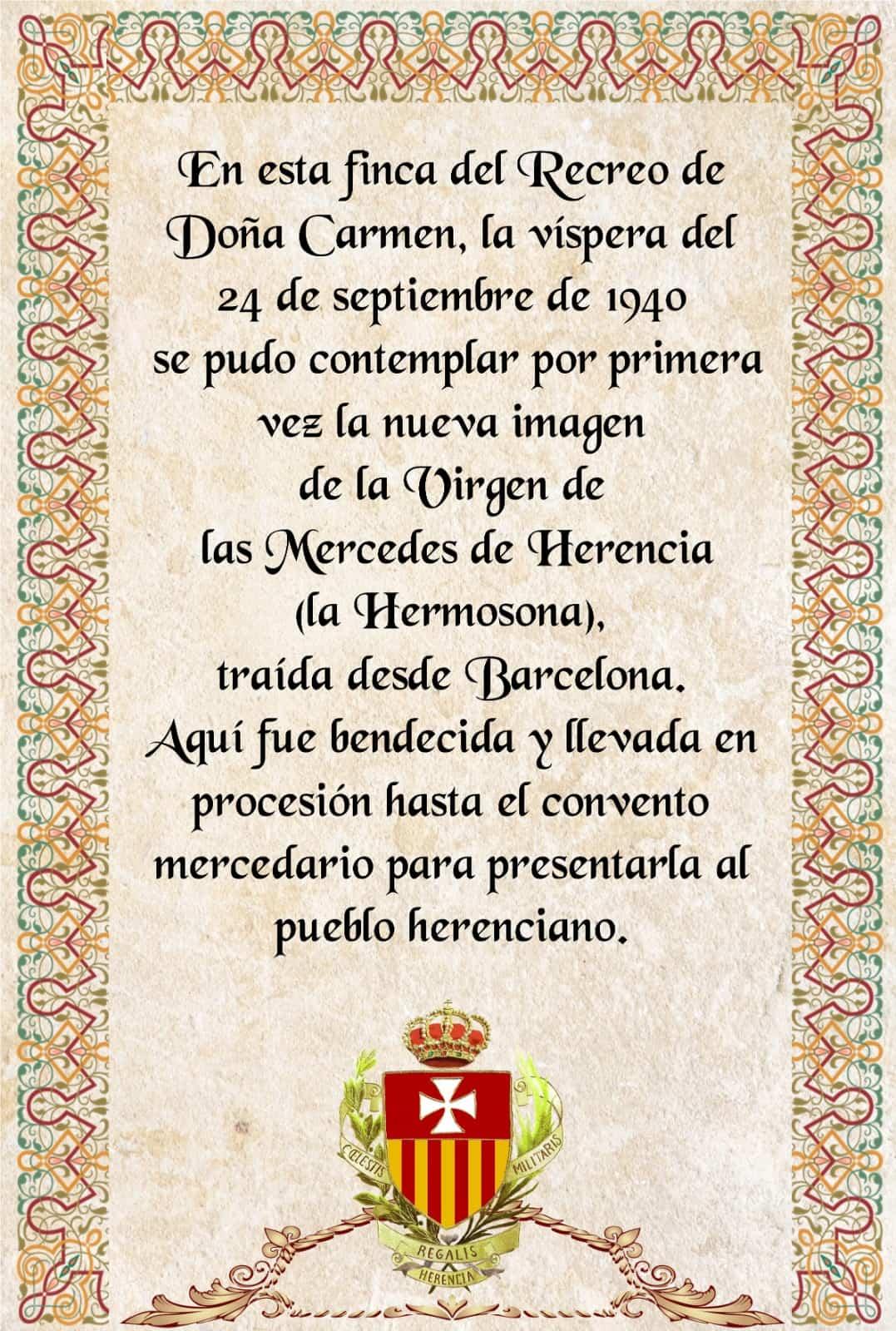 Dos cerámicas conmemoran la llegada de la actual imagen de la Virgen de las Mercedes a Herencia 6