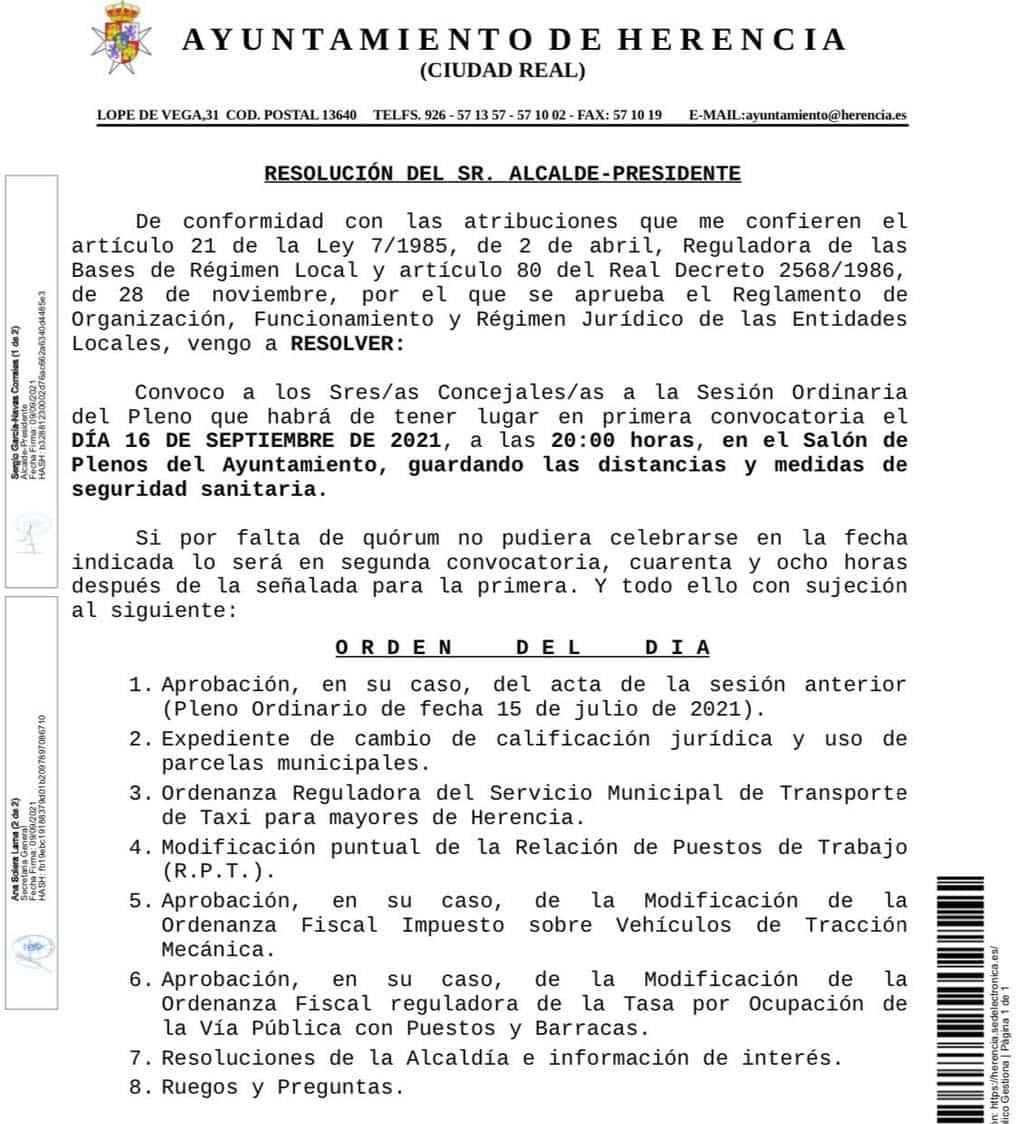 Próximo Pleno Municipal del Ayuntamiento de Herencia el 16 de septiembre 3