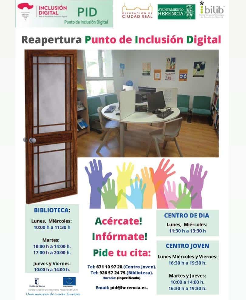Los Puntos de Inclusión Digital (PID) vuelven abrir sus puertas en Herencia 3